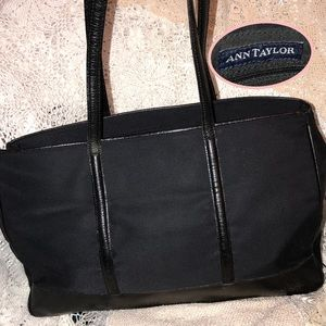 Ann Taylor Black Leather Trimmed Nylons n Tote